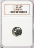 Proof Roosevelt Dimes: , 1955 10C PR69 NGC. NGC Census: (91/0). PCGS Population (2/0).Mintage: 378,200. Numismedia Wsl. Price for problem free NGC/...