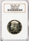 SMS Kennedy Half Dollars: , 1967 50C SMS MS67 Cameo NGC. NGC Census: (728/121). PCGS Population(461/33). Numismedia Wsl. Price for problem free NGC/P...