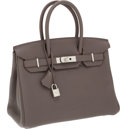 Luxury Accessories:Bags, Hermes 30cm Etain Clemence Leather Birkin Bag with PalladiumHardware. ...