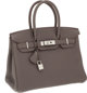 Hermes 30cm Etain Clemence Leather Birkin Bag with Palladium Hardware