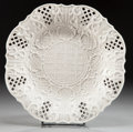 Ceramics & Porcelain, A STAFFORDSHIRE SALT GLAZED RETICULATED DISH. Maker unknown, Staffordshire, England, circa 1755. Unmarked. 10-3/8 inches dia...