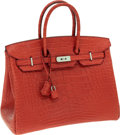 Luxury Accessories:Bags, Hermes 35cm Matte Rouge Indienne Alligator Birkin Bag withPalladium Hardware. ...