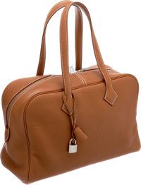 Hermes Gold Clemence Leather Victoria Bag with Palladium Hardware