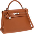 Luxury Accessories:Bags, Hermes 32cm Gold Clemence Leather Retourne Kelly Bag with PalladiumHardware. ...