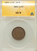 Half Cents: , 1851 1/2 C VG8 ANACS. NGC Census: (0/540). PCGS Population (0/547).Mintage: 147,672. Numismedia Wsl. Price for problem fre...
