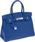 Luxury Accessories:Bags, Hermes 30cm Sapphire Fjord Leather Birkin Bag with Palladium Hardware. ...