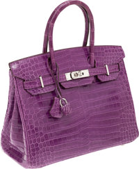 Hermes Very Rare 30cm Shiny Violet Porosus Crocodile Birkin Bag with Palladium Hardware