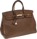 Luxury Accessories:Bags, Hermes 40cm Olive Barenia Leather Birkin Bag with Gold Hardware....