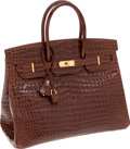 Luxury Accessories:Bags, Hermes 35cm Shiny Miel Porosus Crocodile Birkin Bag with GoldHardware. ...