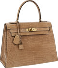 Luxury Accessories:Bags, Hermes 28cm Beige Shiny Crocodile Sellier Kelly Bag with GoldHardware. ...