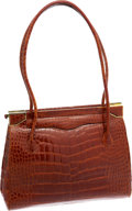 Luxury Accessories:Bags, Judith Leiber Brown Crocodile Shoulder Bag. ...