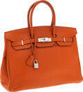 Luxury Accessories:Bags, Hermes 35cm Potiron Clemence Leather Birkin Bag with PalladiumHardware. ...