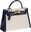 Luxury Accessories:Bags, Hermes 32cm Toile & Navy Calf Box Leather Sellier Kelly Bagwith Gold Hardware. ...