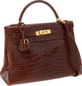 Luxury Accessories:Bags, Hermes 32cm Shiny Miel Alligator Retourne Kelly Bag with GoldHardware. ...