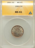 Liberty Nickels: , 1901 5C MS61 ANACS. NGC Census: (19/650). PCGS Population (11/772).Mintage: 26,480,212. Numismedia Wsl. Price for problem ...