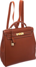 Luxury Accessories:Bags, Hermes 28cm Etrusque Fjord Leather Kelly Ado Backpack with Gold Hardware. ...