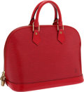 Luxury Accessories:Bags, Louis Vuitton Red Epi Leather Alma Bag with Shoulder Strap. ...