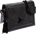 Luxury Accessories:Bags, Judith Leiber Black Alligator Small Evening Bag with ShoulderStrap. ...