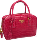 Luxury Accessories:Bags, Prada Fuchsia Crocodile Small Bowler Tote Bag with Gold Hardware,Retail ~$22,000. ...