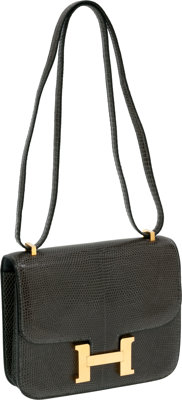 Hermes 18cm Gris Fonce Lizard Constance Bag with Gold Hardware