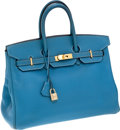 Luxury Accessories:Bags, Hermes 35cm Blue Jean Clemence Leather Birkin Bag with GoldHardware. ...