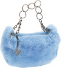 Luxury Accessories:Bags, Chanel Blue Rabbit Fur Hobo Bag with Dark Silver Hardware. ...