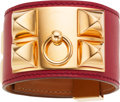 Luxury Accessories:Accessories, Hermes Rouge Garrance Swift Leather Collier de Chien Bracelet withGold Hardware. ...
