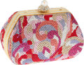 Luxury Accessories:Bags, Judith Leiber Full Bead Multicolor Crystal Swirl Minaudiere EveningBag. ...