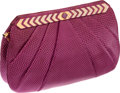 Luxury Accessories:Bags, Judith Leiber Magenta Lizard Clutch with Gold Diagonal Hardware. ...