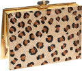 Luxury Accessories:Accessories, Judith Leiber Crystal Leopard Print Gold Frame Clutch Evening Bag....