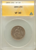 Seated Quarters: , 1855 25C Arrows VF30 ANACS. NGC Census: (3/126). PCGS Population(3/133). Mintage: 2,857,000. Numismedia Wsl. Price for pro...