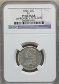 Bust Quarters: , 1835 25C -- Improperly Cleaned -- NGC Details. VF. B-1. NGC Census:(9/397). PCGS Population (24/521). Mintage: 1,952,000....