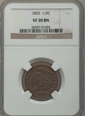 Half Cents: , 1825 1/2 C VF30 NGC. NGC Census: (5/343). PCGS Population (20/231).Mintage: 63,000. Numismedia Wsl. Price for problem free...