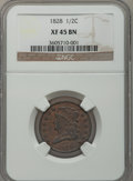 Half Cents: , 1828 1/2 C 13 Stars XF45 NGC. NGC Census: (85/1218). PCGSPopulation (68/568). Mintage: 606,000. Numismedia Wsl. Price for...