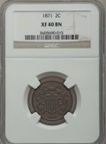 Two Cent Pieces, 1871 2C XF40 NGC. W/P. NGC Census: (18/512). PCGS Population(24/298). Mintage: 721,100. Numismedia Wsl. Price for problem ...