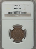 Two Cent Pieces: , 1870 2C XF45 NGC. NGC Census: (15/285). PCGS Population (16/112).Mintage: 860,250. Numismedia Wsl. Price for problem free ...