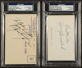 Boxing Collectibles:Autographs, Jack Dempsey and James Braddock Signed Index Card. ...