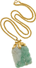 Estate Jewelry:Necklaces, Jadeite Jade, Gold Pendant-Necklace. ...