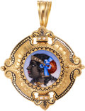 Estate Jewelry:Pendants and Lockets, Victorian Diamond, Enamel, Seed Pearl Pendant-Brooch. ...