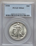 Walking Liberty Half Dollars: , 1938 50C MS64 PCGS. PCGS Population (993/1738). NGC Census:(616/1063). Mintage: 4,118,152. Numismedia Wsl. Price for probl...