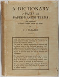 Books:Books about Books, [Books About Books]. A Dictionary of Paper and Paper-MakingTerms. Swets & Zeitlinger, 1937. Bookplate. Staining to ...