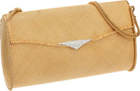 Van Cleef & Arpels Stunning 18k Yellow Gold & Diamond Basket Weave Evening Bag