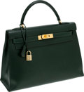 Luxury Accessories:Bags, Hermes 32cm Vert Fonce Calf Box Leather Sellier Kelly Bag with Gold Hardware. ...