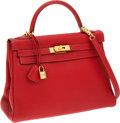 Luxury Accessories:Bags, Hermes 32cm Rouge Vif Togo Leather Retourne Kelly Bag with GoldHardware. ...