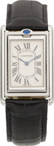 Estate Jewelry:Watches, Cartier Unisex Stainless Steel Tank Basculante Leather Strap Wristwatch. ...