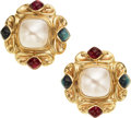 Estate Jewelry:Earrings, Mabé Pearl, Sapphire, Rubellite, Gold Earrings. ...