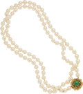 Estate Jewelry:Necklaces, Cultured Pearl, Aventurine Quartz, Gold Necklace. ...