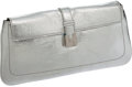 Luxury Accessories:Bags, Lambertson Truex Silver Metallic Leather Clutch with ShoulderStrap. ...