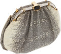 Luxury Accessories:Bags, Judith Leiber Natural Ring Lizard Clutch with Silver Frame. ...