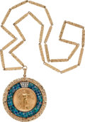Estate Jewelry:Necklaces, US $20 Gold Coin, Diamond, Opal, Gold Pendant-Necklace. ...
